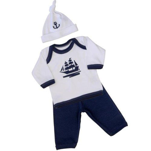 BabyPrem Frühchen Hosen Langärmeliges Oberteil und Hut Baby Kleidung Jungen Dunkelblau 44-50cm