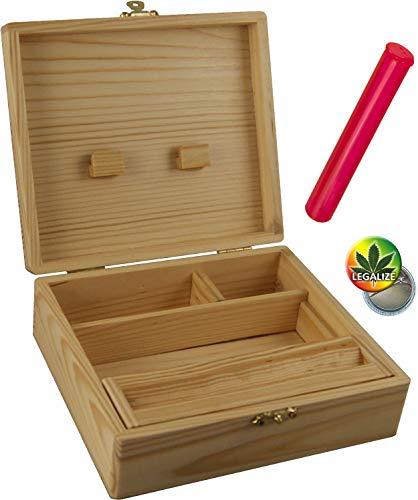 Rolling Supreme Set RS Box Holzbox 170 x 59 x 150 4 Fächer + Buddies Hülle 120mm bunt - Rasta-Button