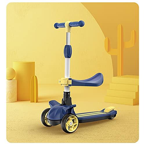 OFFA Patinete 3 En 1 Scooter De Niño Plegable para Niños Menores De 2 Años, 3 Ruedas Scooter para Niños Niñas Juguetes para Niños con Rueda De Mudo Intermitente, Carga De Carga 220 LB (Color : Blue)