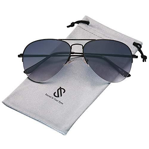 SOJOS Herren Damen Sonnenbrille Zwei Brücken Klassisch SJ1106 mit Schwarz Rahmen/Verlauf schwarze Linse