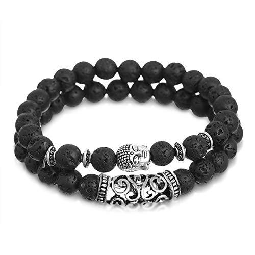 Alaxy Beaded Bracelets for Men Women, 8mm Jewelry Antique Buddha Head Beaded Bracelet - Black Lava Stone Bead, Elastic, Stretch