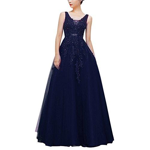 IBTOM CASTLE Elegante y sexy vestido de noche para mujer, cuello en V, sin mangas, espalda descubierta, maxi para boda, dama de honor, cóctel, baile, EU 34-56 azul marino 56