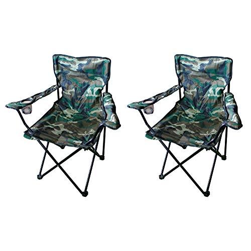 Mojawo 2 Stück Anglersessel Campingstuhl Faltstuhl Anglerstuhl Regiestuhl Camouflage mit Getränkehalter und Tasche