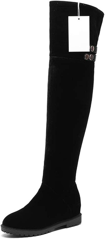 Saborz Women Over Knee Boots Round Toe Low Heel Zipper Warm Winter Long Boots for Woman