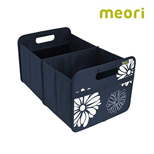 meori Faltbox Large in Marineblau mit Blumen – Stabile Klappbox L mit Griffen - die perfekte Allzweck Aufbewahrungslösung – Tragkraft bis 30 kg - A100116 - 32 x 50 x 27,5 cm