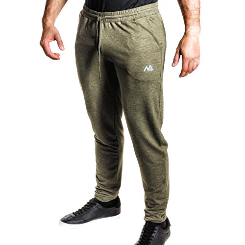 Natural Athlet Fitness Jogginghose Meliert – Herren Männer Trainingshose lang für Fitness Workout – Slim Fit Sporthose in grün Größe M