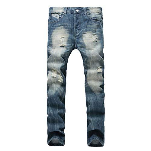 Beastle Pantalones Vaqueros para Hombre, Personalidad de Moda, Pantalones Vaqueros Ajustados de Pierna Recta Rasgados, Pantalones de Mezclilla de Todo fósforo Informales a la Moda 32