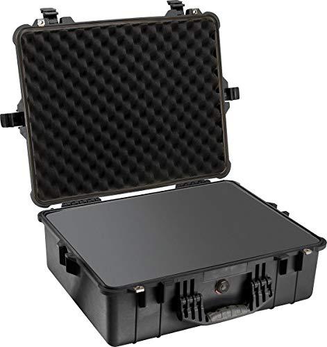 PELI 1600 conteneur résistant aux chocs, IP67 Étanche à l'eau et à la poussière, capacité de46L, fabriqué en Allemagne, avec insert en mousse personnalisable, noir