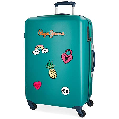 Pepe Jeans Liberty Green Medium Suitcase 45.5 x 67 x 26.5 cm Rigid TSA Lock 68 Litre 3.9 kg 4 Wheels