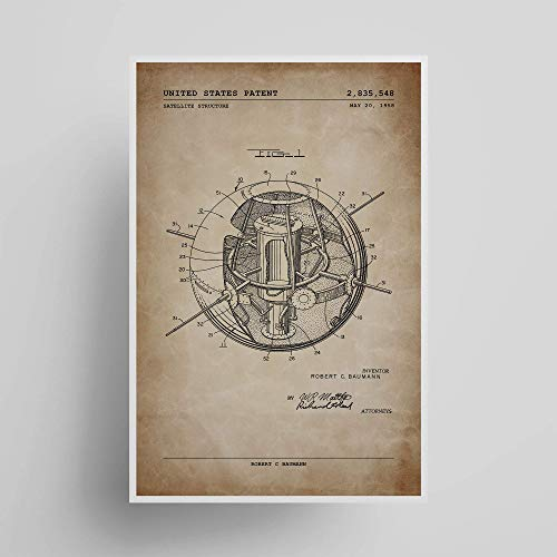 Early Satellite Structure; Patent Poster; Patent Artwork; Gifts Under $15