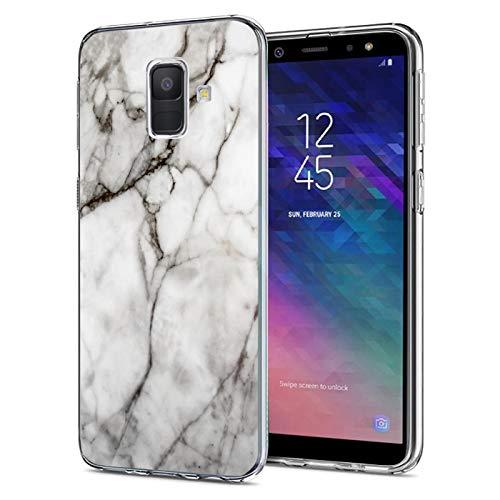 Verco Coque pour Galaxy J6 2018, Bumper Housse Etui de Protection pour Samsung Galaxy J6 (2018) Coque Silicone, marbre