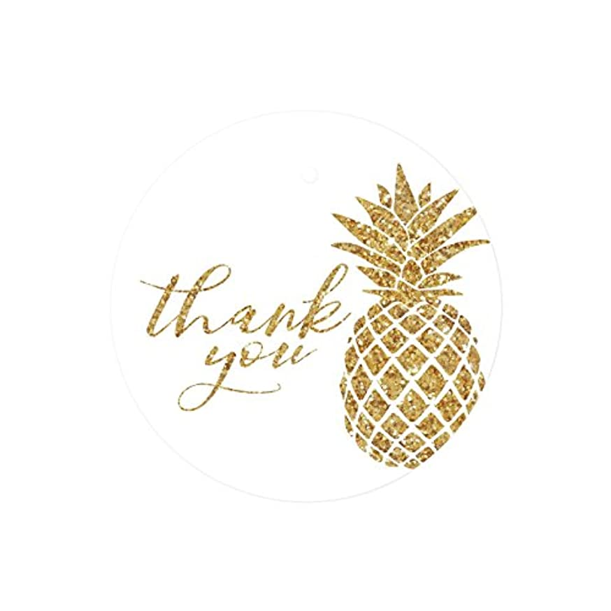 Andaz Press Round Circle Gift Tags, Faux Gold Glitter Pineapple, Thank You, 24-Pack, Colored Party Favors and Decorations