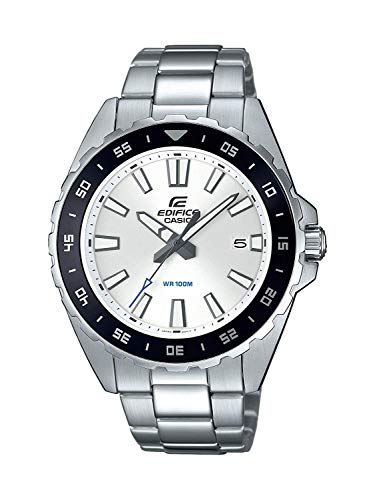 CASIO Herren Analog Quarz Uhr mit Edelstahl Armband EFV-130D-7AVUEF