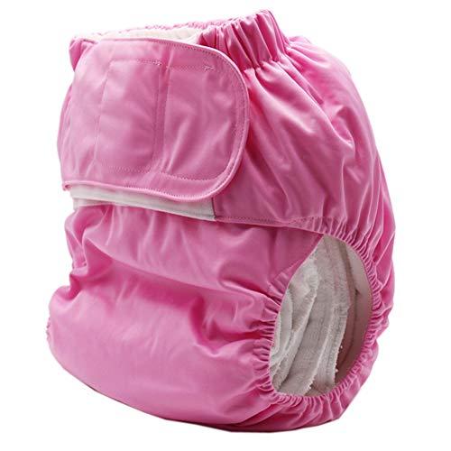 XIONGG Erwachsene Windelhosen, Wiederverwendbare Windeln Pflege, Inkontinenz Windel Einstellbar Waschbar Dual-Öffnungstasche,Rosa