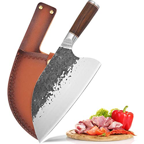 Handmade Forged Kitchen Chef Knife 126 Inch Full Tang Meat Cleaver Serbian Butcher Boning Cleaver Knife for Home Camping BBQ