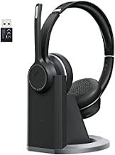 xMpow HC5 Pro V5.0 Wireless Headset with Microphone, Bluetooth Headphones with Charging Base, USB Adapter, CVC 8.0 Noise Canceling Headset for PC, Cellphone, Call Center, Skype, Zoom