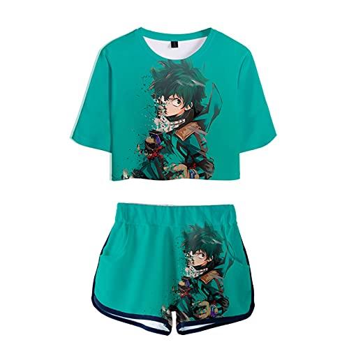 WWZY Anime My Hero Academia Impreso en 3D Midoriya Izuku Camiseta y Pantalone Cortos 2 Piezas Conjunto Niñas Mujer Crop Top T-Shirt y Shorts Set,Verde,XL
