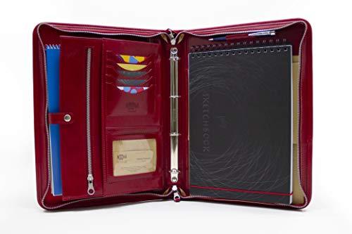 Cartella portadocumenti in pelle italiana, formato A4, con cerniera, raccoglitore a 4 anelli, in pelle con manico Rosso