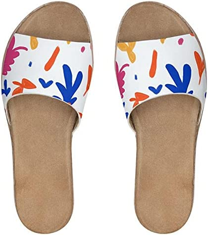 The Fashion Access Abstract Leaf & Plant Womens Leather Sliders Comfy Open Toe Stylish Lightweight Durable