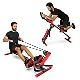 Murtisol 3 in1 ABRowing Foldable AB Rowing Machine - Abdominal, Cardio & Core Trainer Adjustable Elastic Tension & Angle, Full-Motion Rower with LCD Monitor