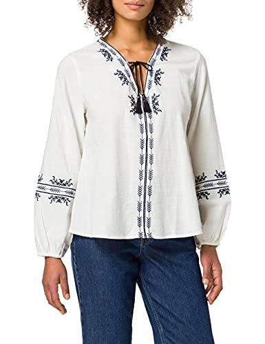 Springfield Damen Blusa Bordados Étnicos Hemd, Elfenbein, 32