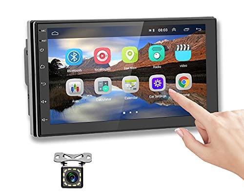 Podofo Android Autoradio 2 Din GPS 7 Pollici Touch Screen Bluetooth Wifi Auto Multimedia Player Auto Navigation Mirror Link per Android IOS Radio FM Dual USB + Telecamera Posteriore