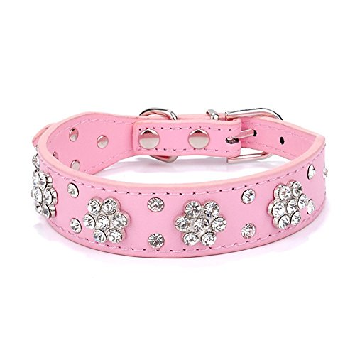 Ericotry Collare regolabile per cani e animali domestici, collana con strass e fiore con borchie in pelle PU per cani di taglia media (rosa)