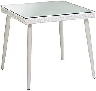 Vacchetti Giuseppe 6435420000Table Adila avec Verre, carré, Blanc, 90x 90x 77cm