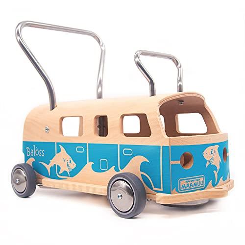 3-i-1 Lära-gå-vagn + Åkleksak Balòss Aloha Ljusblå i trä, tillverkad i Italien