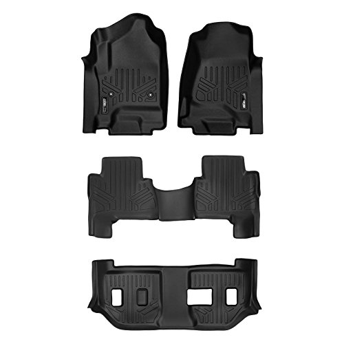 MAXLINER Floor Mats 3 Row Liner Set Black for 2015-2018 Cadillac Escalade ESV
