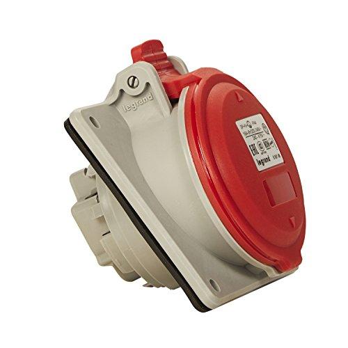Legrand, CEE 16A Anbausteckdose, rot 5-polig (3P+N+PE), 6h (400V/16A), Schutzart IP44, IK09 & Neigungswinkel von 15 Grad , 090164