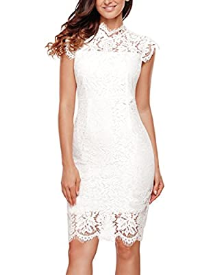 MEROKEETY Women's Sleeveless Lace Floral Elegant Cocktail Dress Crew Neck Knee Length for Party White