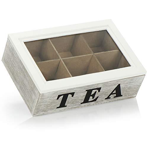com-four® Caja de Almacenamiento para bolsitas de te - Caja de te de Madera Blanca con Tapa de Vidrio - Shabby Chic - con 6 Compartimentos y Ventana de visualizacion - inscripcion Tea