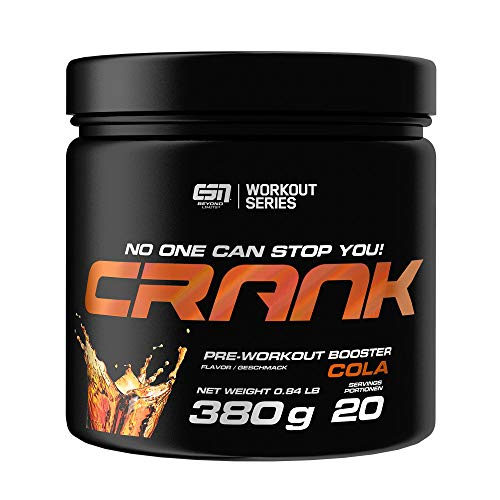 ESN Crank – 380g – Cola – 20 Portionen – kompletter Pre Workout Booster – Sport, Fitness, Bodybuilding – Vegan – Made in Germany