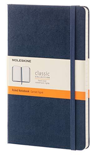 Moleskine - Cuaderno Clásico con Hojas Rayadas, Tapa Dura y Cierre Elástico, Color Azul Zafiro, Tamaño Grande 13 x 21 cm, 240 Hojas