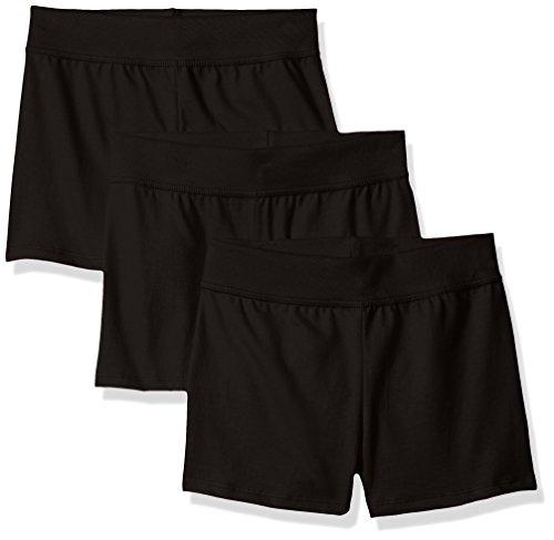 Hanes Little Girls' Jersey Short (Pack of 3), Ebony, Medium