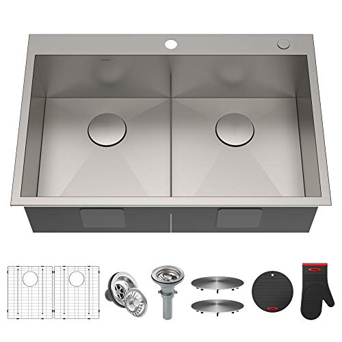 Kraus KP1TD33S-2 Pax Kitchen Double Bowl, 33 Inch, Low Divider Sink 33' x 22' x 9' 2 Holes
