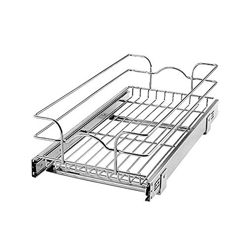 Rev-A-Shelf 12 Inch Wide 22 Inch Deep Base Kitchen Cabinet Pull Out Wire Basket