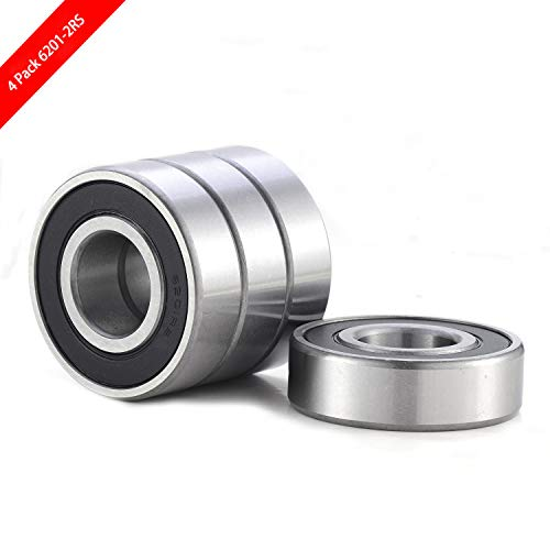 4 Pcs 6201-2RS Bearing Double Rubber Seal Bearings Deep Groove Ball Bearings 12x32x10mm, Pre-Lubricated Ball Bearing Widely Used in Axial Fans, Motors, Drive Axles, Clutch, Idler Wheels etc