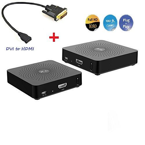 Measy VE809-AT-G Wireless HDMI Switch W2H + DVI zu HDMI Adapter (30m, Full-HD) für WONNIE Mini Beamer 2200 Lumen, HD tragbarer Heimkino-Projektor, Unterstützung 1080P,