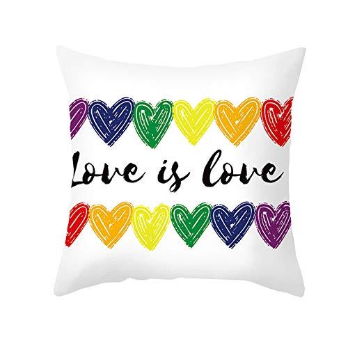 AtHomeShop Funda de cojín de 50 x 50 cm, funda de cojín decorativa en poliéster con corazón Love is Love, suave, cuadrada, para dormitorio, sofá, decoración, color blanco y negro, estilo 14