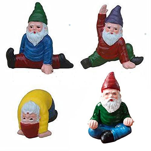 THappy Juego de mini gnomos de jardín, colección de gnomos de yoga en patio, mini estatua de jardín, Estatuas enanas de jardín de hadas, divertidas posturas de yoga, decoración de jardín