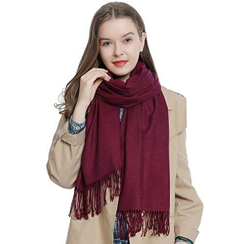 Damen Schal einfarbig weich 185 x 65 cm berry