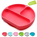 Suction Plates for Toddlers   Divided Silicone Baby Plate   All in 1 Toddler Plates and Bowls Fits Most Highchair Trays   Silicone Placemats for Babies   Baby Plates with Suction Red
