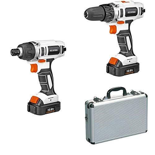 【電動工具セット】アイリスオーヤマ充電式インパクトドライバー JID80+充電式ドリルドライバーJCD28+ アルミケース AM-10