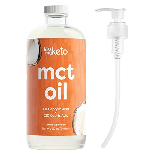Kiss My Keto C10 / C8 MCT Oil Keto Fuel Blend - 15g Keto MCT Oil / Serving, 63 Servings   MCT Coconut Oil, Truly Flavorless   Glass Bottle [32 Fl Oz] with Dosing Pump - for Coffee, Salad, Keto Shakes