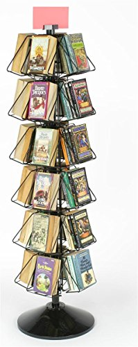 Wire Display Rack for Books or DVDs, 24-Pocket Floor-Standing Fixture, 360 Degree Rotating Stand - Black Welded Wire with Plastic Base and Sign Holder
