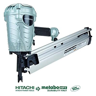 """Metabo HPT NR90AES1 21 Degree Pneumatic Framing Nailer, The Preferred Pro Brand of Pneumatic Nailers, Lightweight and Well-balanced, Easy Depth Adjustment, Accepts 2"""" to 3-1/2"""" Collated Framing Nails from Metabo HPT"""