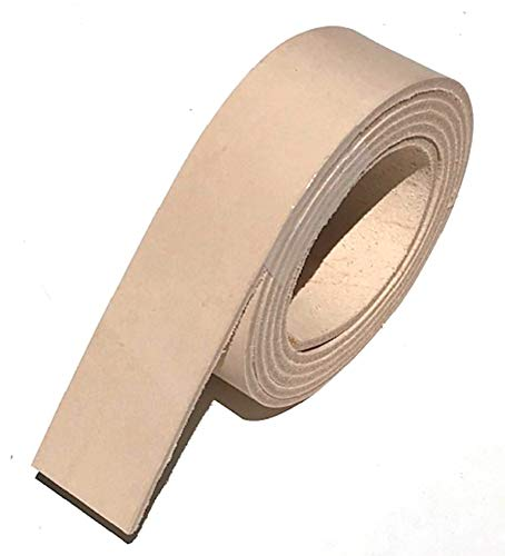 "Dangerous Threads Natural Veg Tan 8/9 Ounce Leather Belt Blank, Extra Long Strip 1.5"" x 72"""