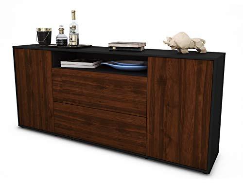Stil.Zeit Sideboard Erina/Korpus anthrazit matt/Front Holz-Design Walnuss (180x79x35cm) Push-to-Open Technik